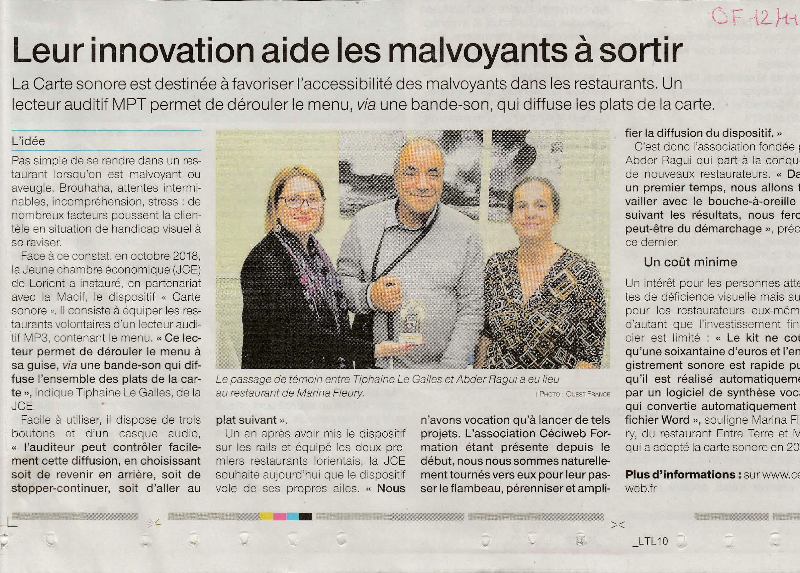 """Article du Ouest-France intitulé """"Leur innovation aide les malvoyants à sortir""""."""
