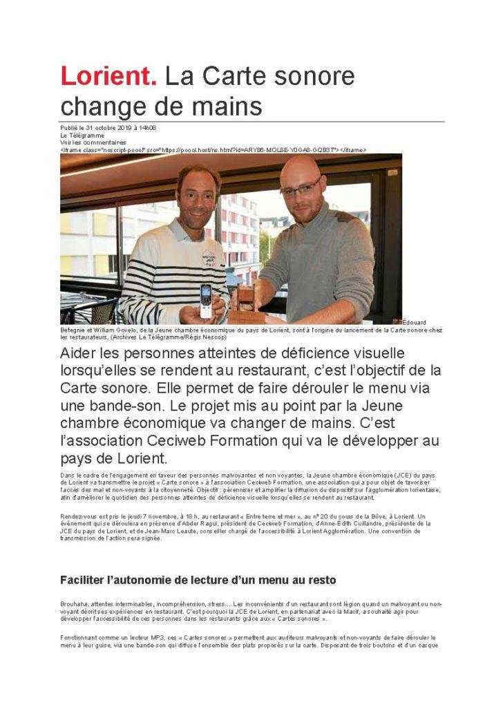 Prelière page de l'article du télégramme intitulé: 'La carte sonore change de main'.