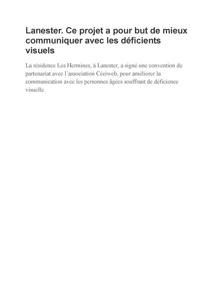 Première page de l'article du Ouest-France intitulé :Lanester ce projet a pour but de mieux communiquer avec les déficients visuels.