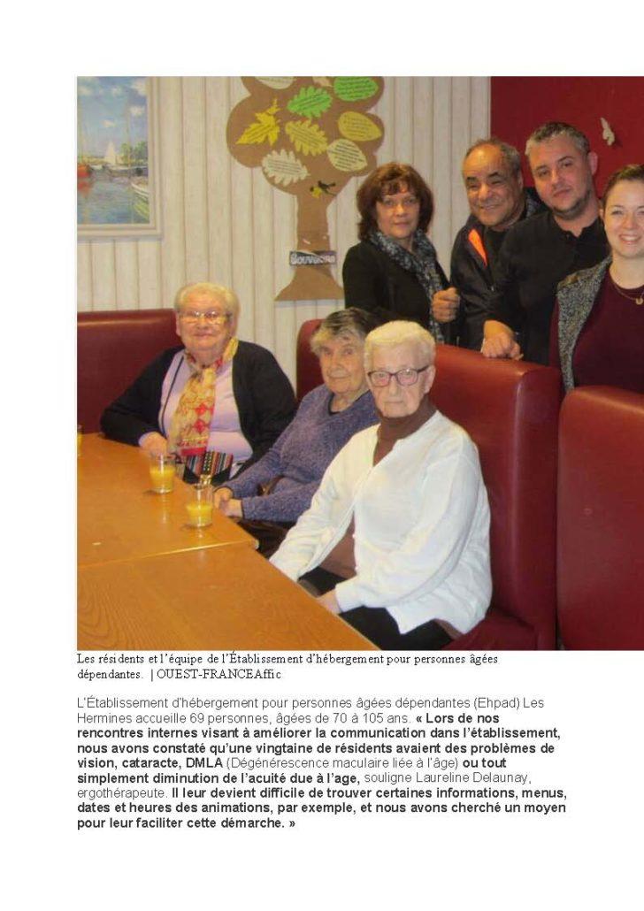 Deuxième  page de l'article du Ouest-France intitulé :Lanester ce projet a pour but de mieux communiquer avec les déficients visuels.