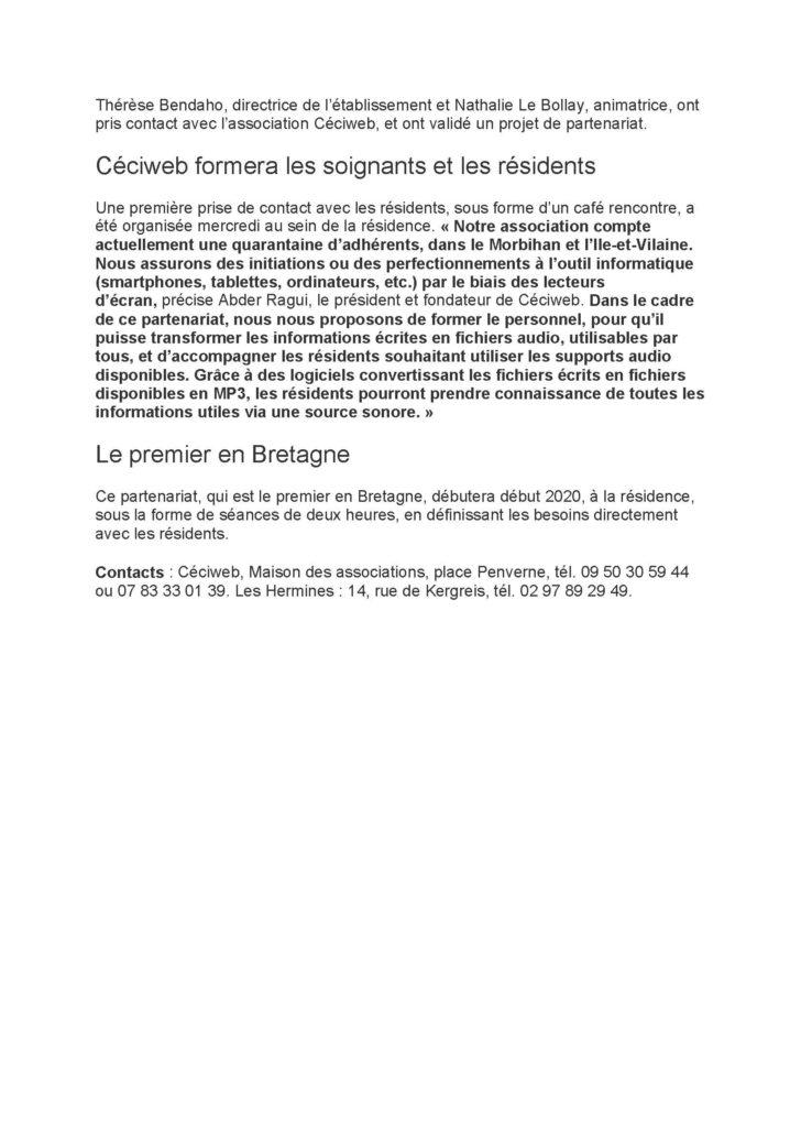 Troisième  page de l'article du Ouest-France intitulé :Lanester ce projet a pour but de mieux communiquer avec les déficients visuels.