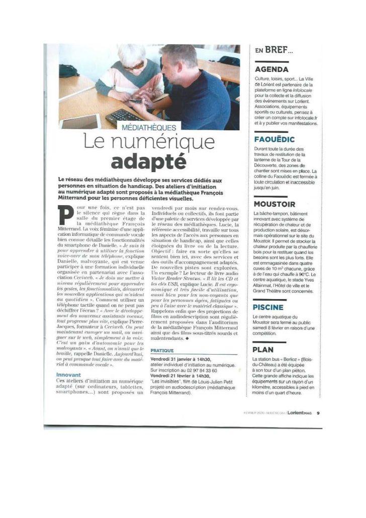 Article de Lorient Mag, intitulé : Le numérique adapté.